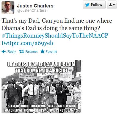 That's my Dad. Can you find me one where Obama's Dad is doing the same thing? ‪#ThingsRomneyShouldSayToTheNAACP‬ http://twitpic.com/a69yeb
