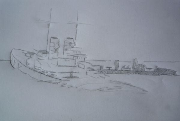 Boceto del rescate de la tripulación del SMS Lutzow