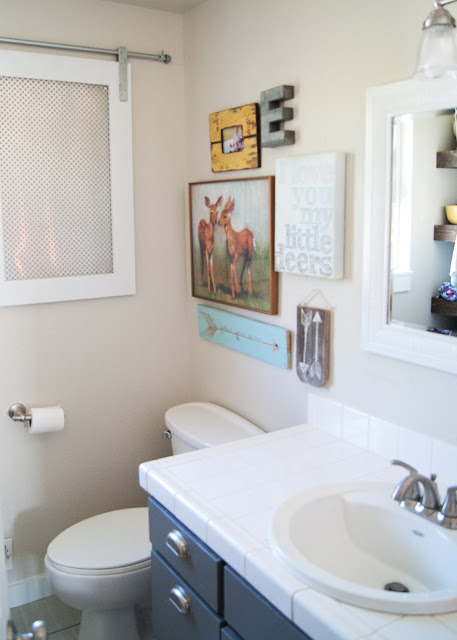 Project Kid's Bathroom Makeover - before & after - bathroom gallery wall