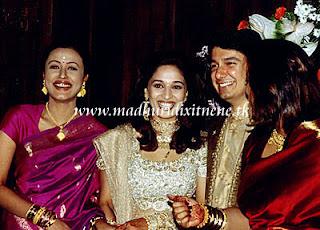 Madhuri Dixit with Husband and Nemarta Sharodkar Wedding Photos