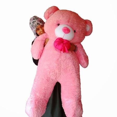 jual boneka teddy bear besar pink muda