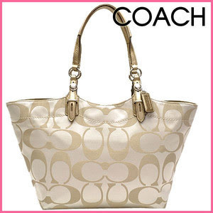 COACH #16175. COACH SIGNATURE SATEEN TOTE KHAKI PURSE