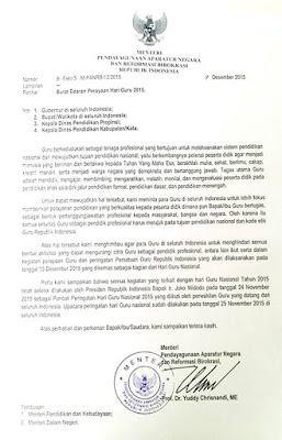 Menpan Larang Mengikuti Hari Persatuan Guru Republik Indonesia