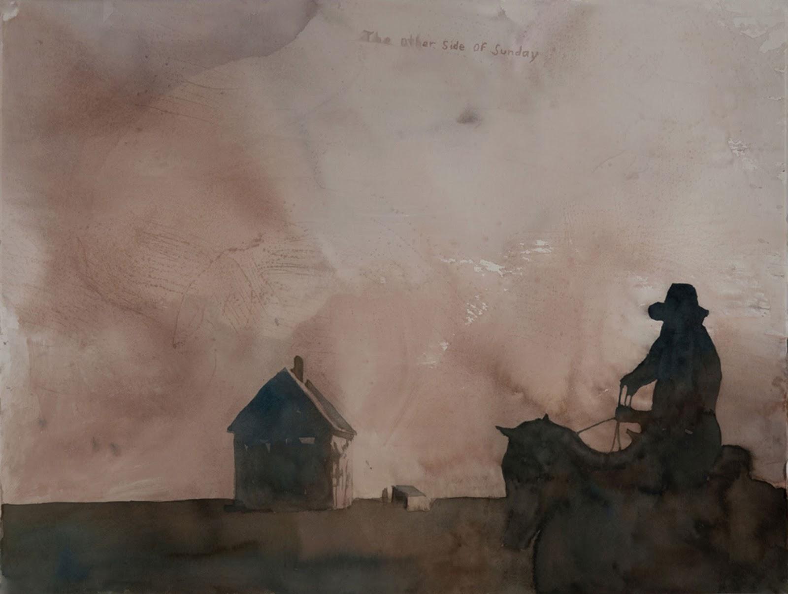 vaquero a caballo se acerca a casa