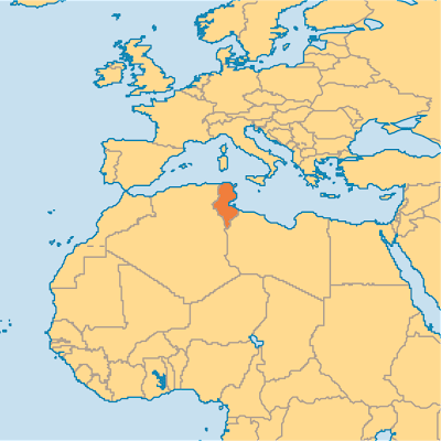 Map of Tunisia in Africa