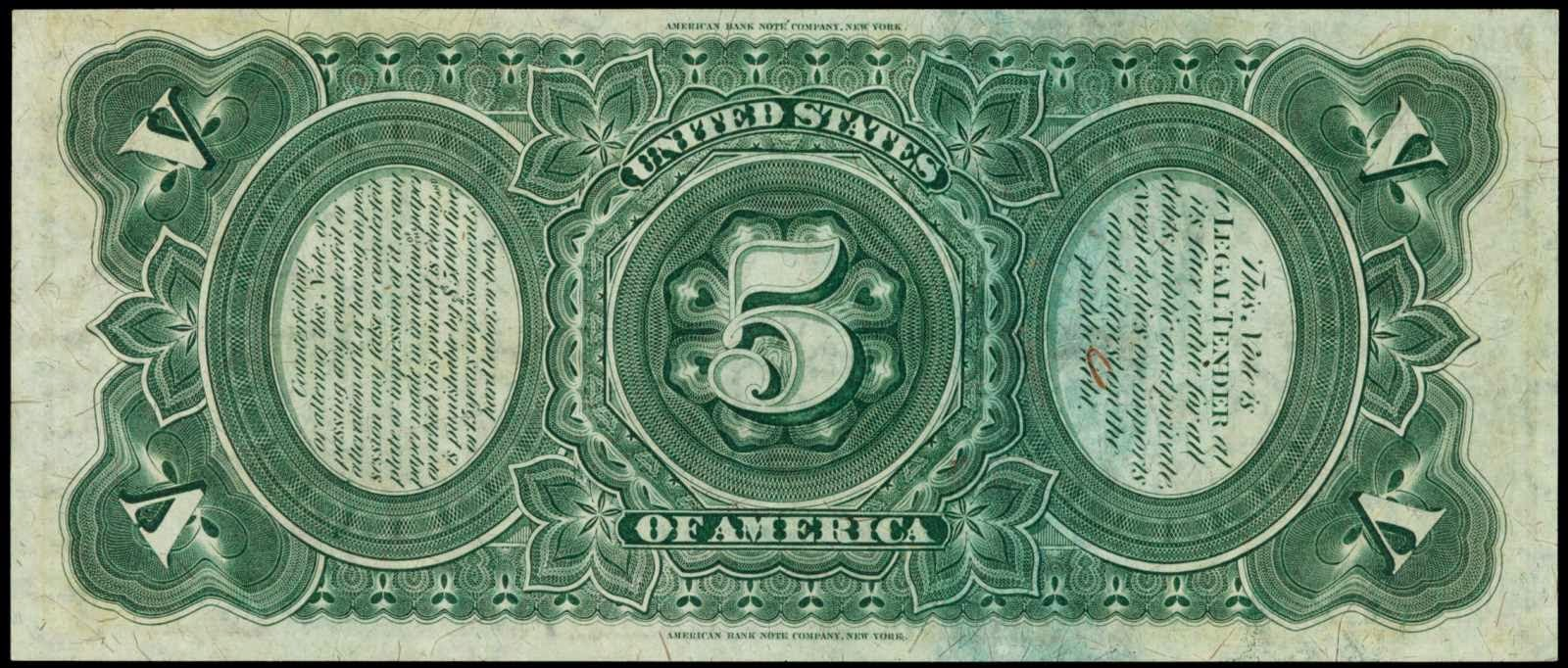 5 Dollar Legal Tender Note Bill