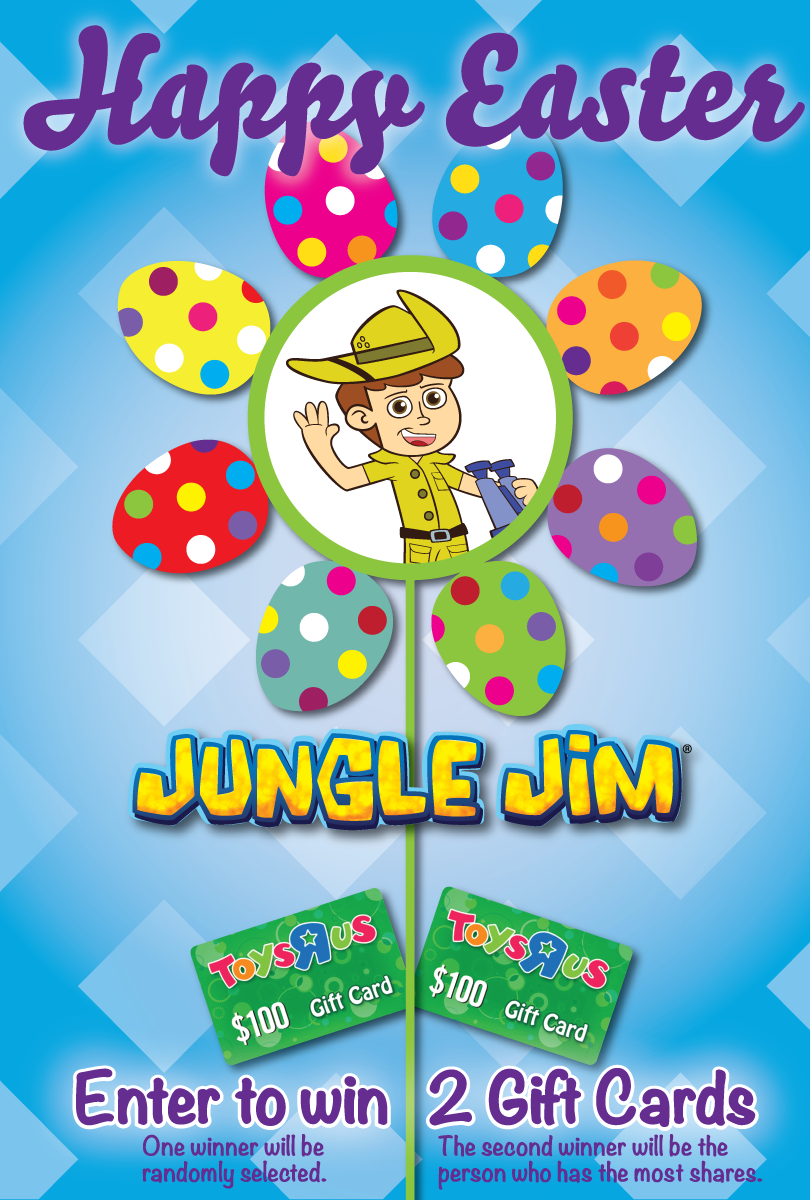 Enter the Jungle Jim Toys R Us Gift Card Giveaway. Ends 4/5
