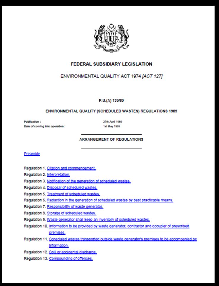 Osh The Journey Series Of Schedule Waste Understanding S6 Related Legislation