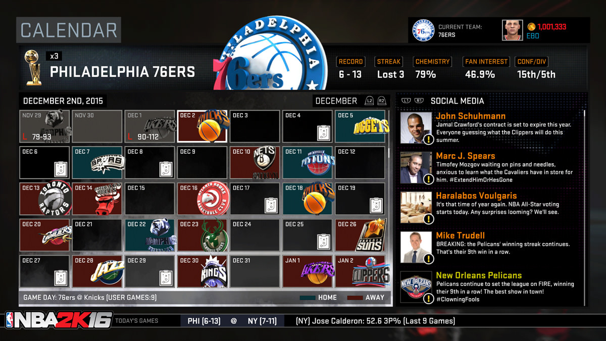 NBA 2k16 MyGM, MyLeague Modes : Calendar