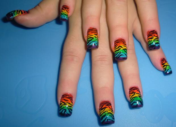 love4nailart rainbow zebra nails