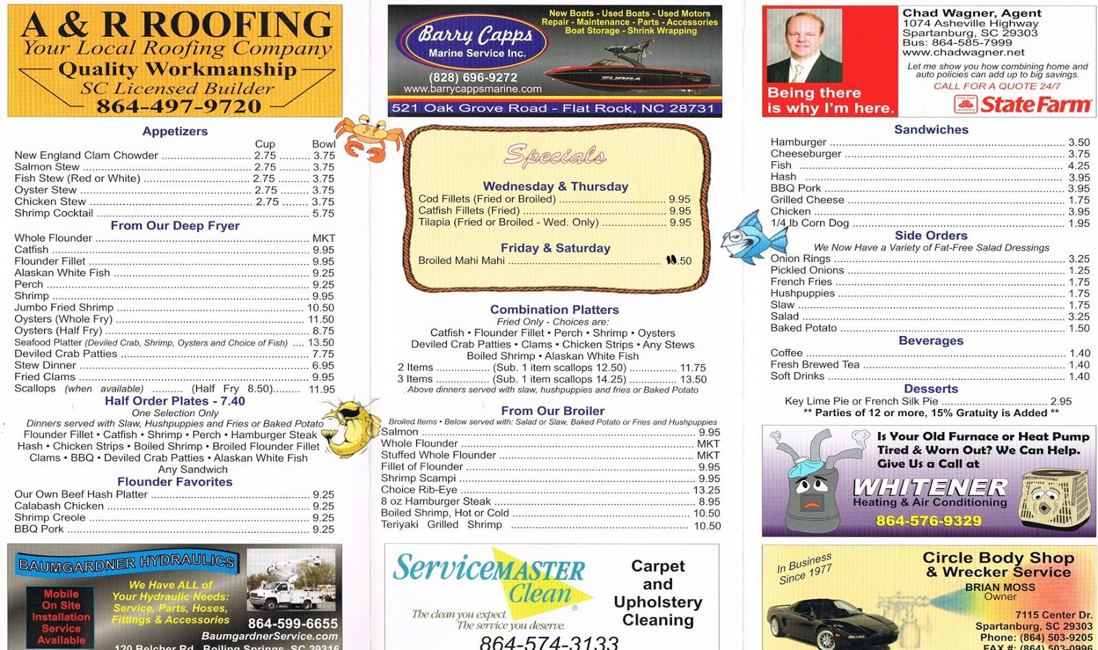 The flounder fish camp menu the flounder fish camp is for Fish camp menu