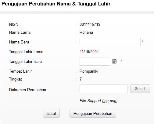 cara mengajukan perubahan data siswa nama dan tanggal lahir