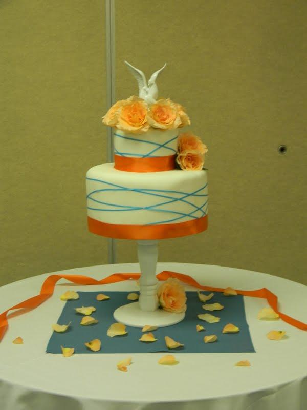 Teal and Orange Wedding Cake - Elise\'s Sweet Creations
