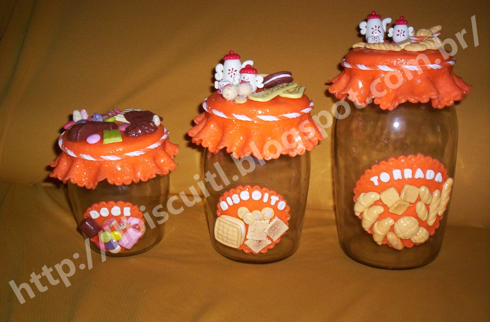 Ll Artesanato Potes De Biscuit Para Cozinha
