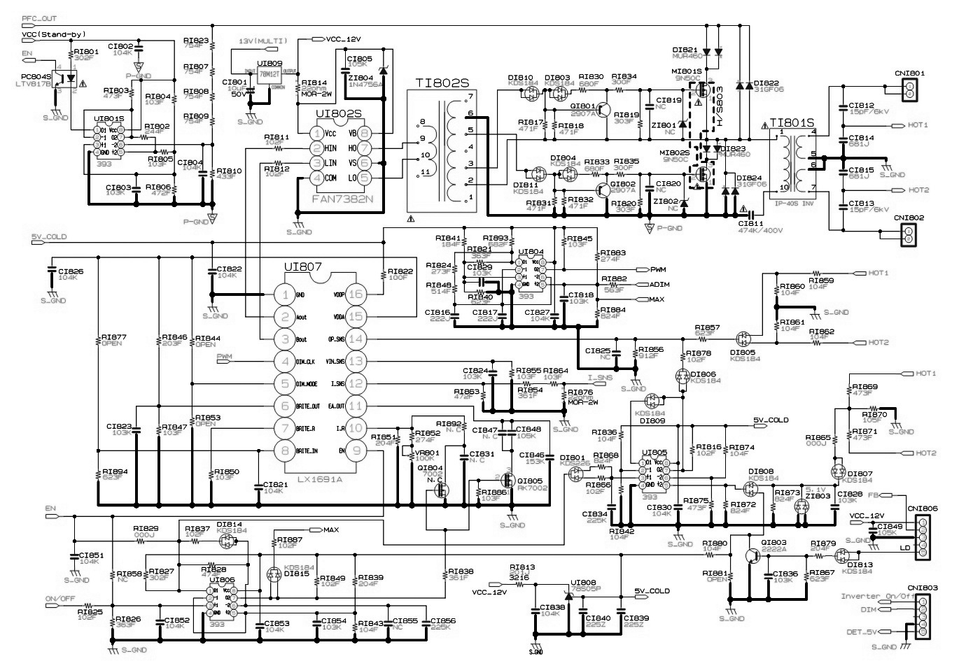 POWER 3 bn44 00165a samsung led lcd tv smps circuit diagram electro help samsung led tv wiring diagram at bakdesigns.co
