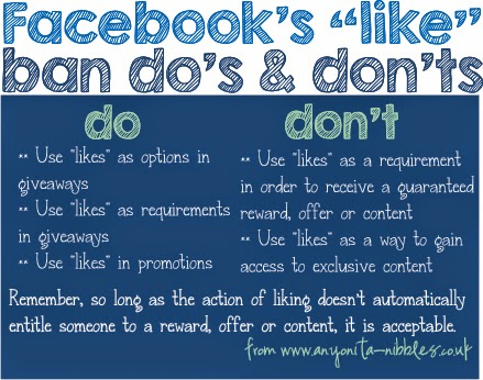 "A handy chart detailing what is and isn't acceptable under Facebook's new ""like"" ban policy from www.anyonita-nibbles.co.uk"