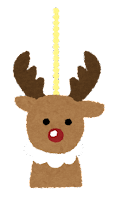 クリスマスの飾りのイラスト(トナカイ)