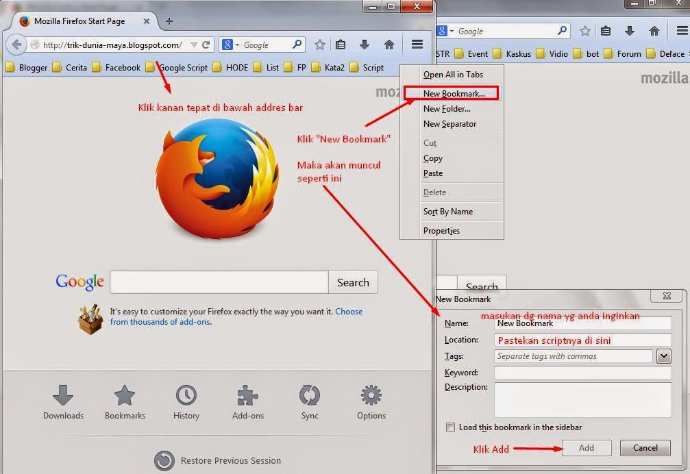 Cara Membuat Bookmark Toolbar di Mozilla Firefox 2 - Cara Melihat ID Akun Facebook