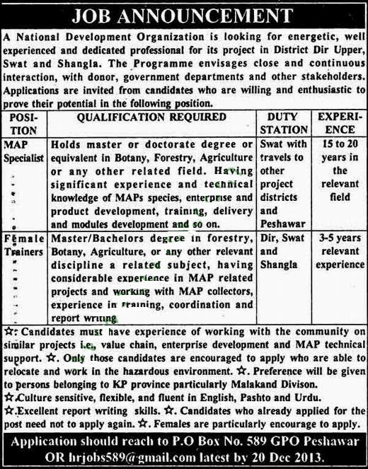 National Development Organization Jobs, Peshawar