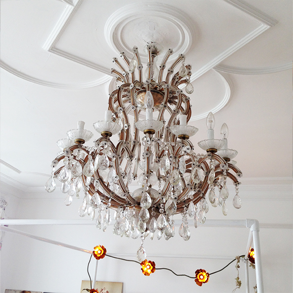 Murano chandelier in master bedroom