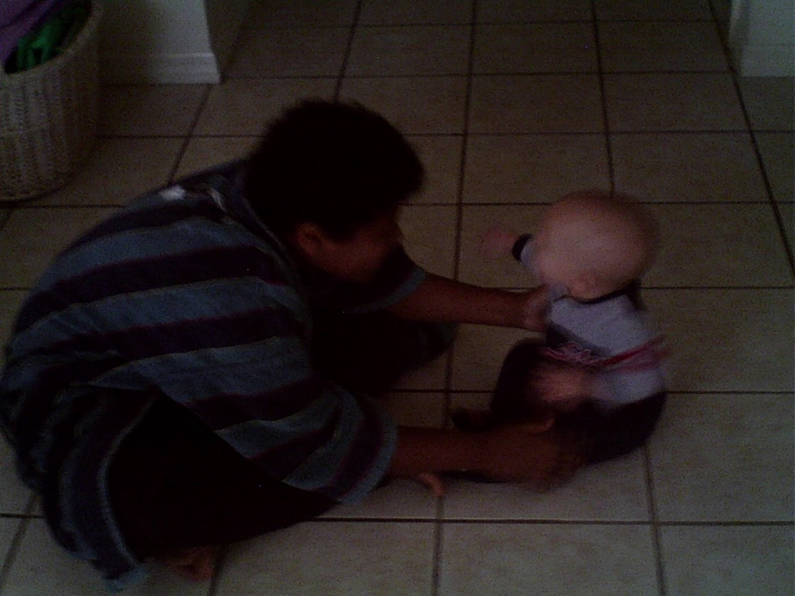 Pre-Teen & Infant Brother Sitting Face To Face, Wordless Wednesday