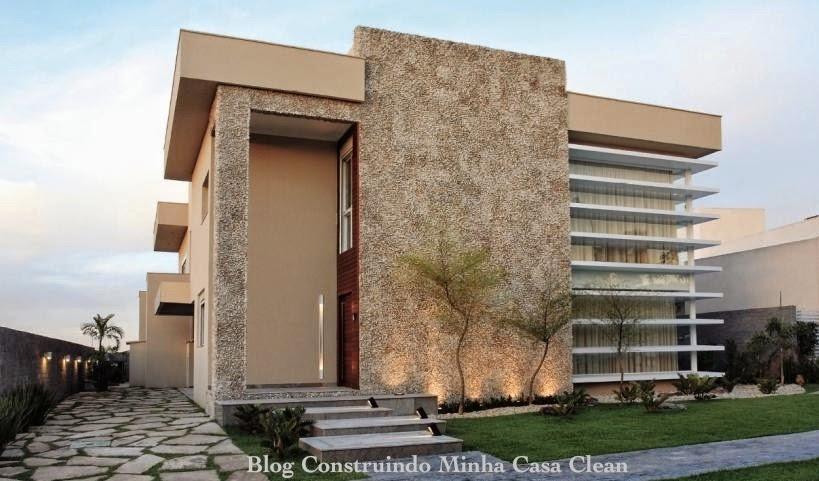 Construindo minha casa clean fachadas de casas com garagem - Tipos de fachadas ...