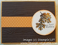 Card with Woodgrain embossing folder and Stampin'UP! Lovely as A Tree Stamp Set. - image right