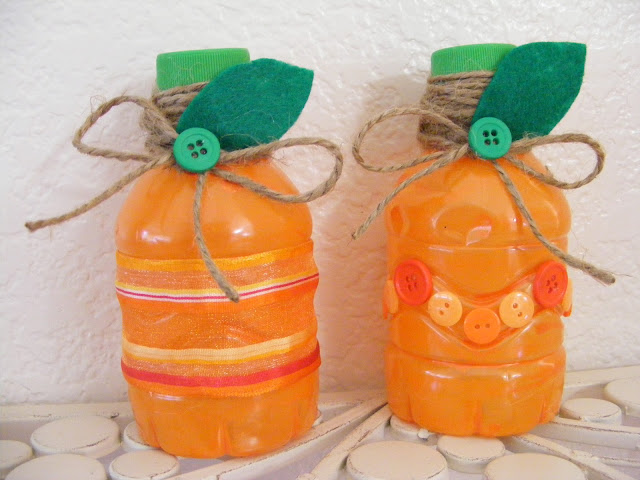 halloween crafts: diy mini pumpkin bottles