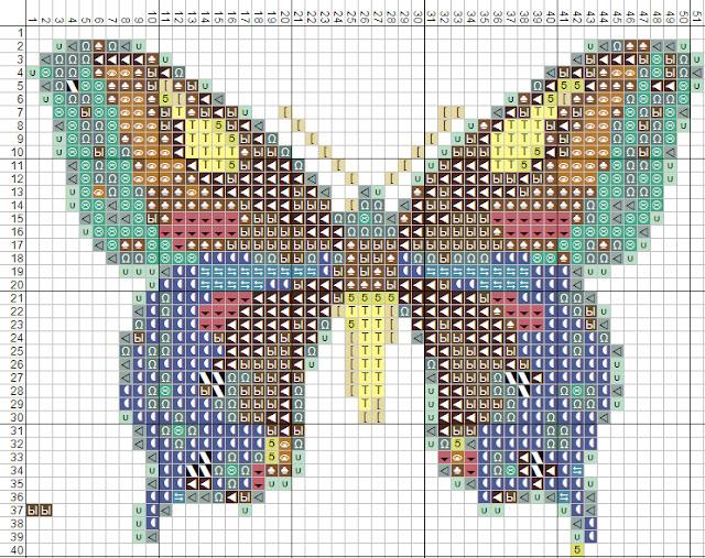 Схема вышивки крестом бабочка.