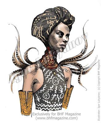 disegno di moda africana, donna africana