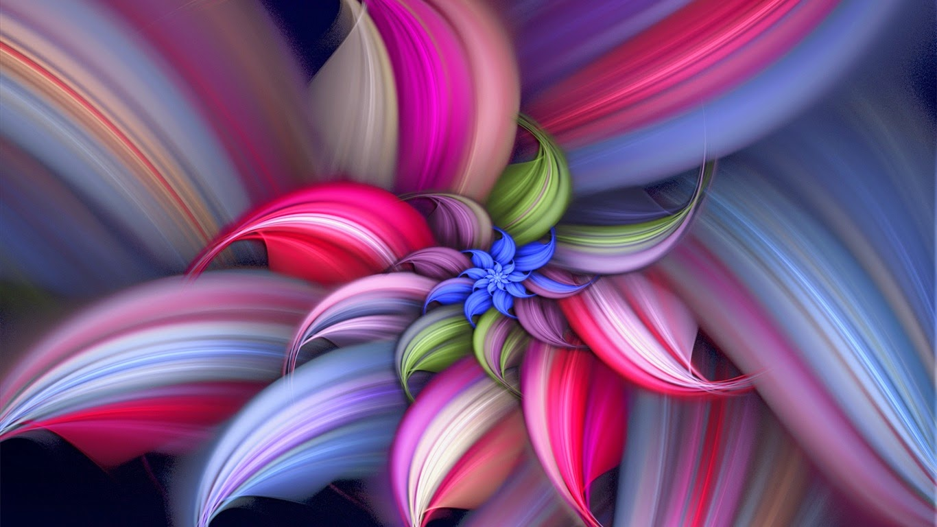 3d Flower colorfull Best HD Wallpaper 1366 x 768