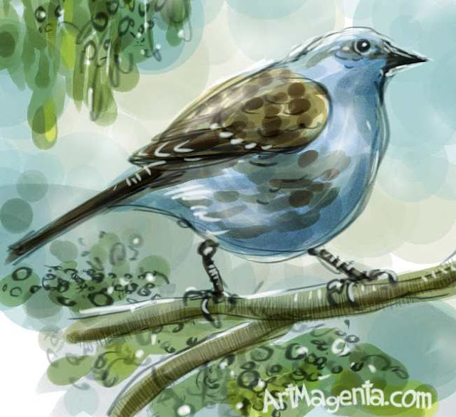 En fågelmålning av en järnsparv från Artmagentas svenska galleri om fåglar