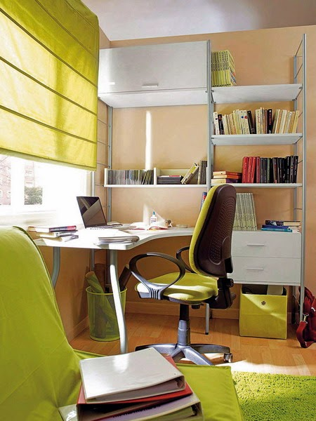 ruang kerja dirumah bercat hijau