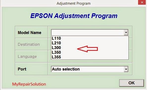 Tipe pilih Epson sesuai printer kita