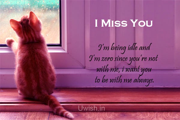 I Miss you e greeting cards and wishes, with sad cat seeing the window.