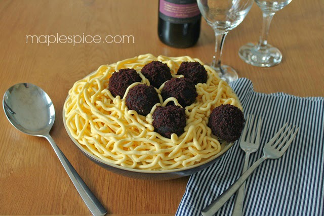 Vegan Spaghetti and Meatball Cake