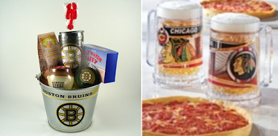 Boston Bruins NHL Pail Gift Set / Chicago Blackhawks NHL Mugs & Pizzas