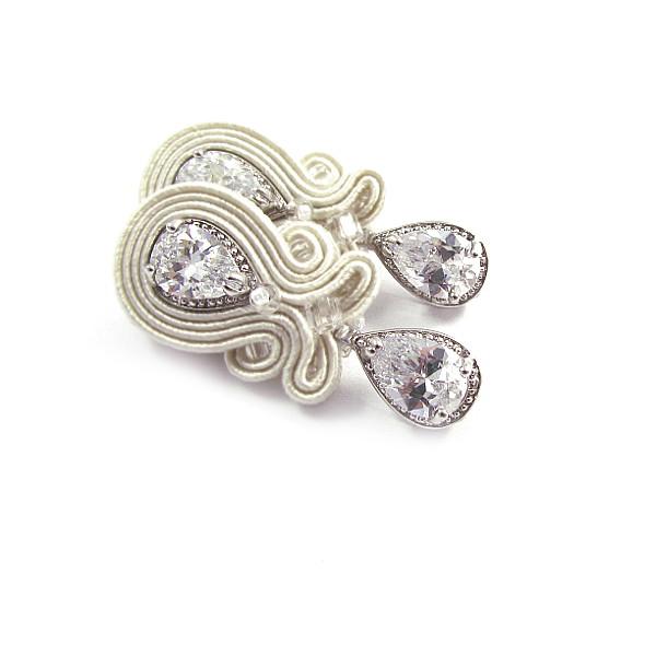 Sutaszowe kolczyki ślubne z kryształami Swarovski
