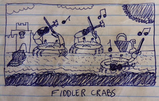 Fiddler crabs are playing violin on a beach