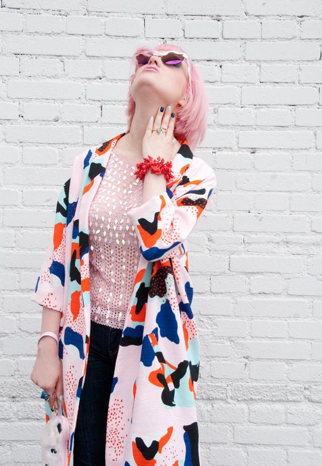 duster look, pink coat, barbie jewellery