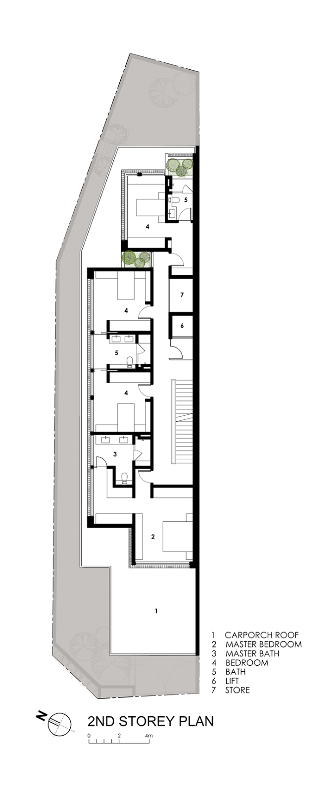 World of architecture thin but elegant modern house by for Long and narrow house plans