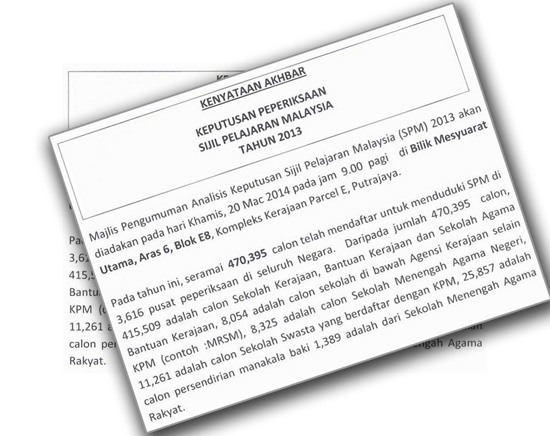 tarikh keputusan SPM 2013 diumumkan