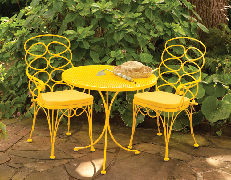 Two men and a little farm inspiration thursday bistro sets for Outdoor furniture yellow