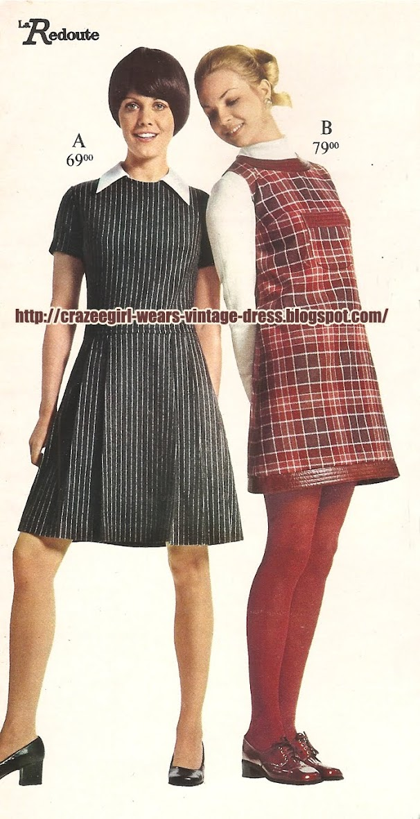 1970 70s jumper pinafore dress plaid check white collar
