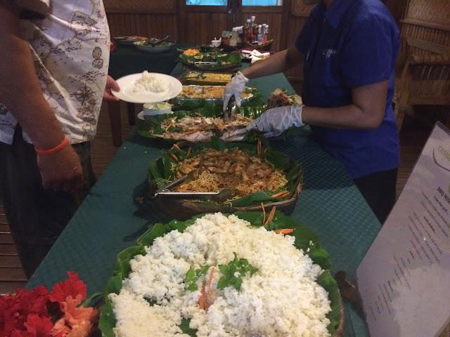 The Sunday buffet at Walindi Plantation Resort