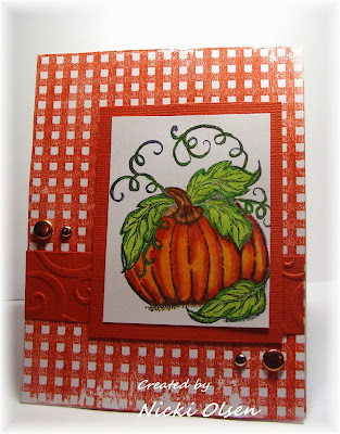 Our Daily Bread Designs, Pumpkin, Gingham Background