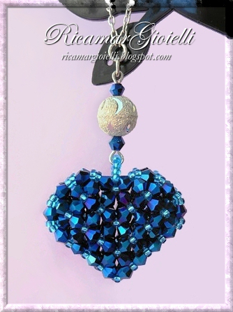 3D Puffy Crystal Metallic Blue Heart