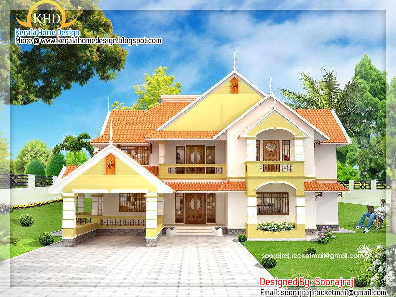Kerala home design and floor plans beautiful house elevation for A beautiful house image
