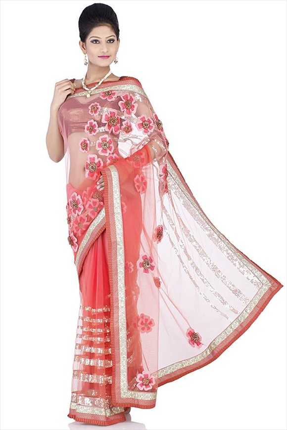 Russett Orange Net Saree