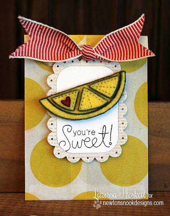 Fruit on Felt card by Larissa Heskett | Sweet Summer Stamp Set | Newton's Nook Designs